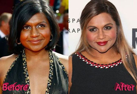 It looks like Taraji P. Henson's body with Mindy's face on the left side, Mindy Kaling plastic surgery rumors.