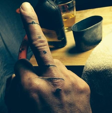 Jason Momoa's Diablo tattoo.