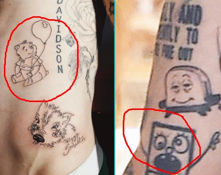 Pete Davidson got many tattoo of the fictional characters in his body.