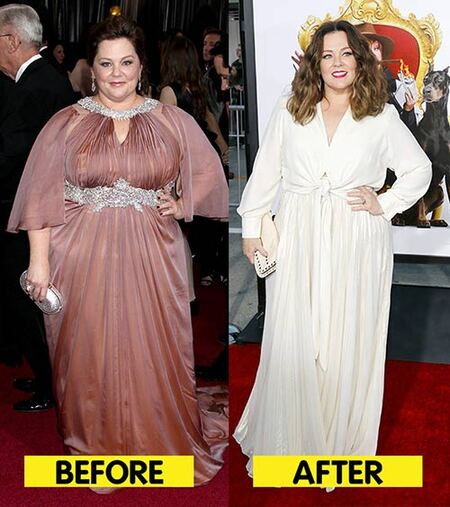 Melissa McCarthy before and after weight loss.