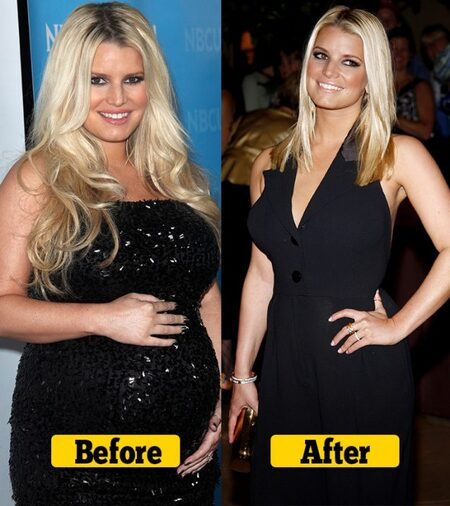 Jessica Simpson before and after weight loss.