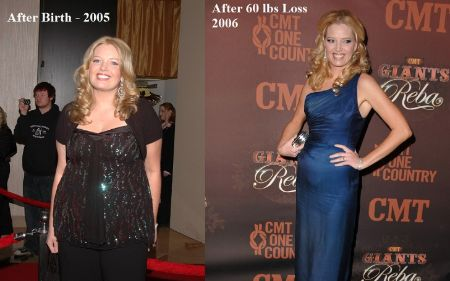 Melissa Peterman before and after 60-pound weight loss.