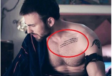 Chris Evans tattoos, Buddhist text.