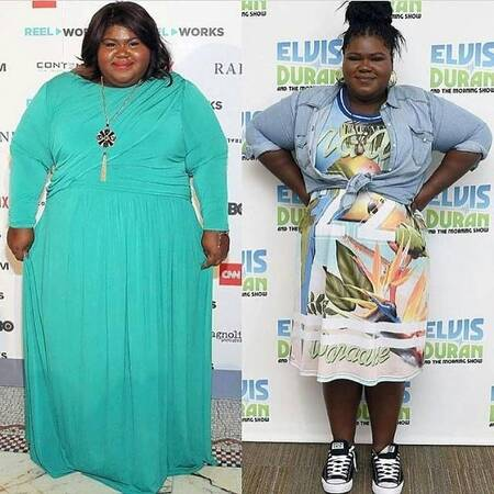 Gabourey Sidibe before and after weight loss surgery.