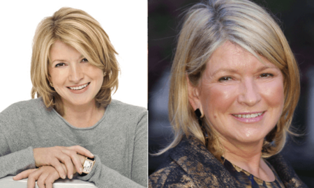 Martha Stewart before and after alleged plastic surgery.