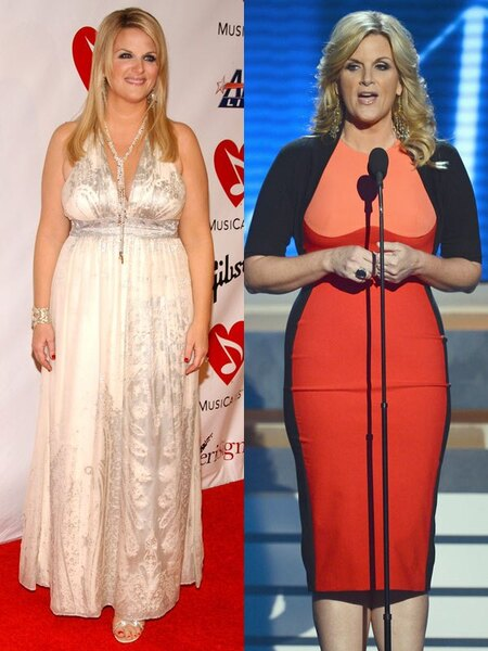 Trisha Yearwood before and after 30 pounds weight loss.