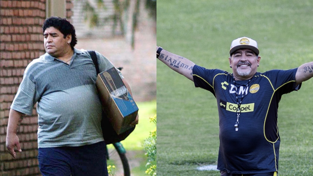 Diego Maradona before and after weight loss.