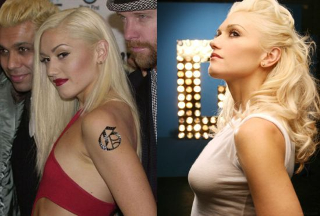 Gwen Stefani before and after boob job plastic surgery.
