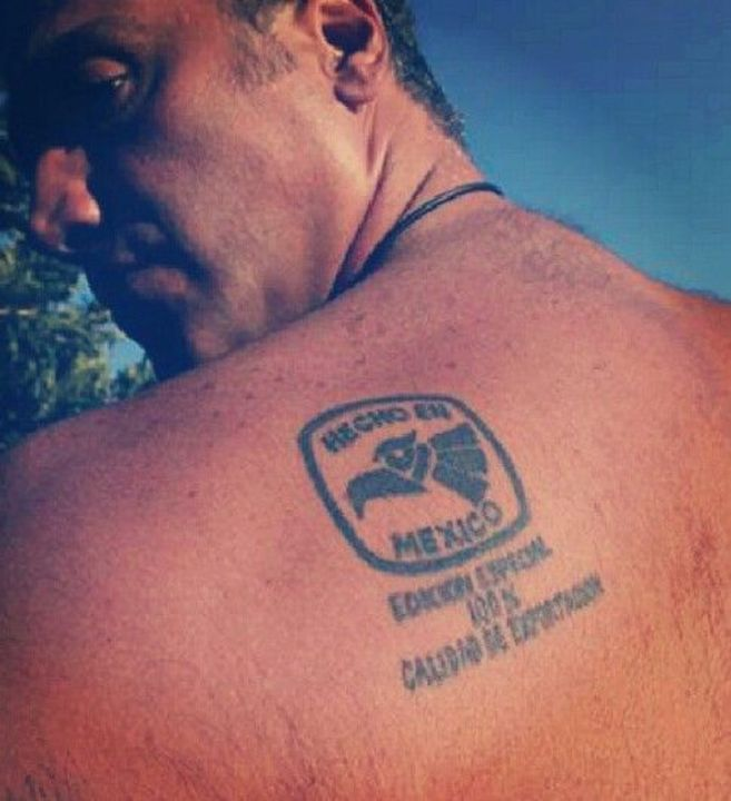Alejandro Fernandez's back tattoo.