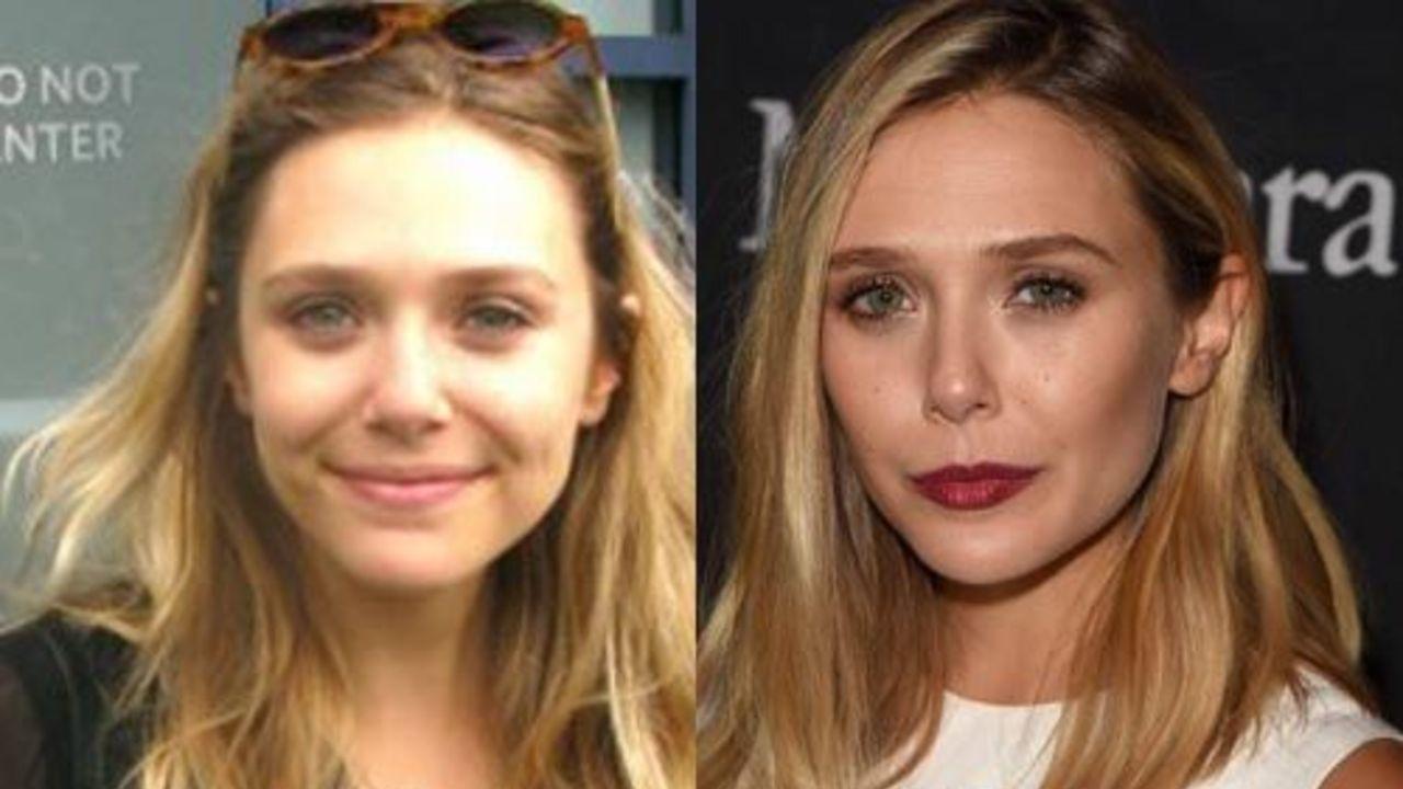 Elizabeth Olsen before and after alleged nose job plastic surgery.