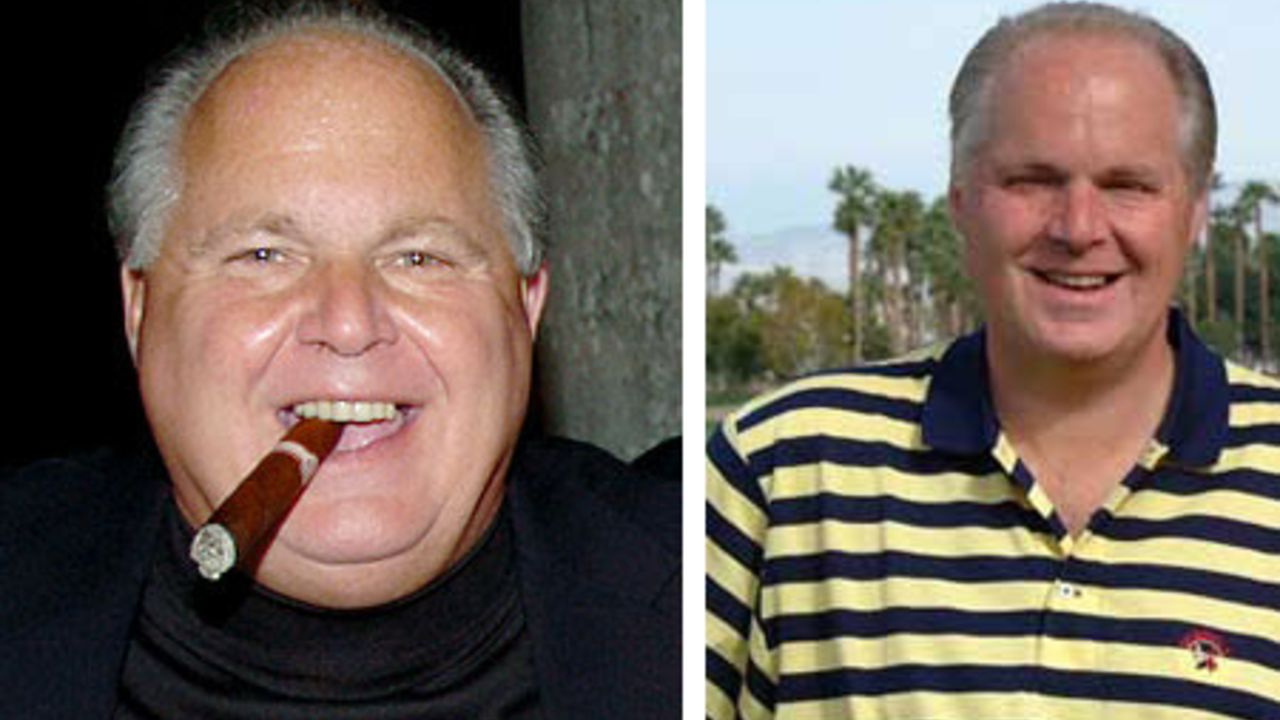 Rush Limbaugh before and after 90 pounds weight loss.