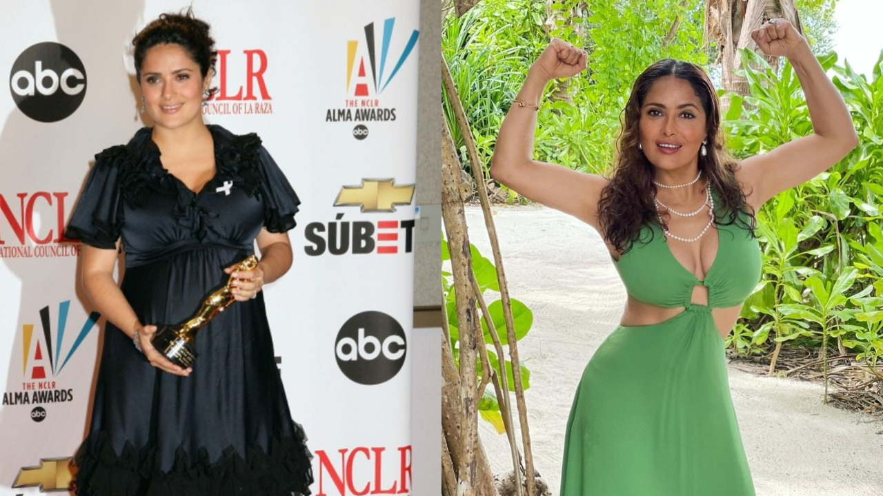 Salma Hayek before and after weight loss.