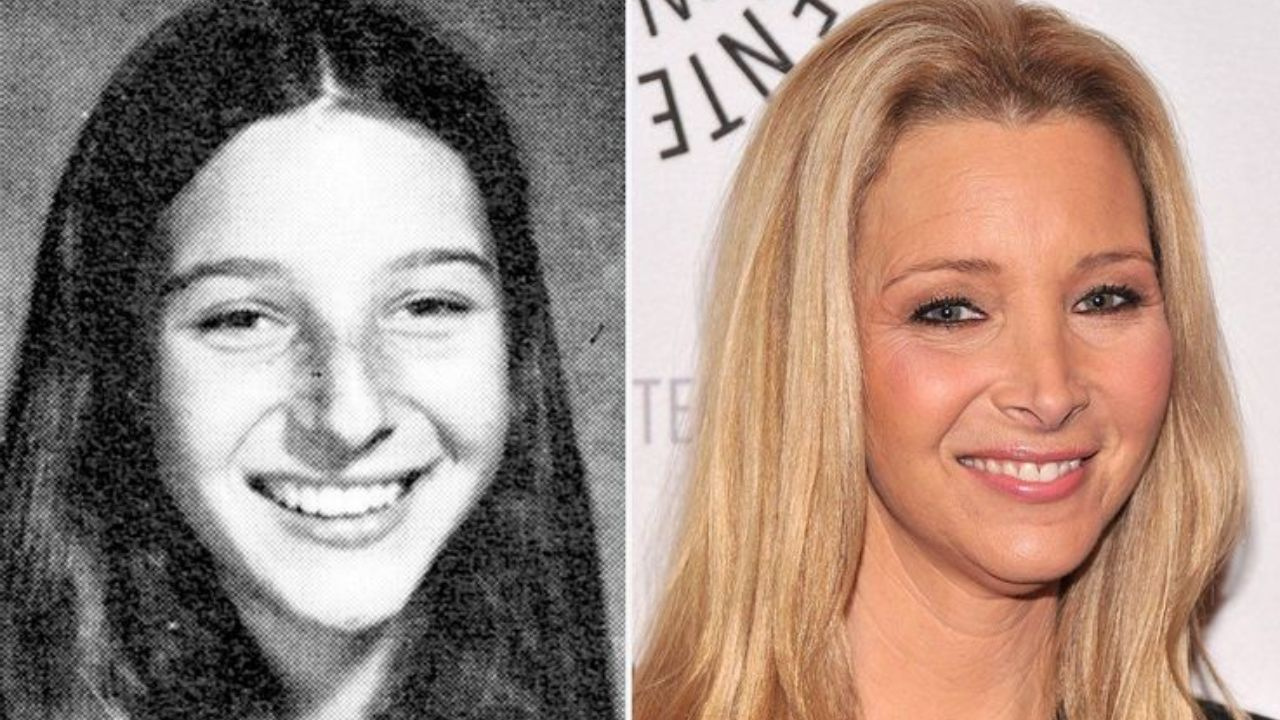 Lisa Kudrow before and after nose job plastic surgery.
