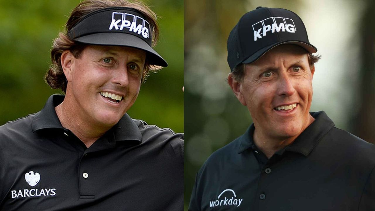 Phil Mickelson before and after alleged plastic surgery.