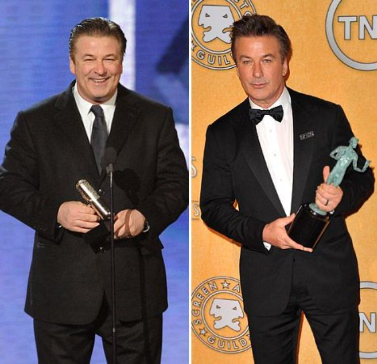 Alec Baldwin before and after 100-pound weight loss.