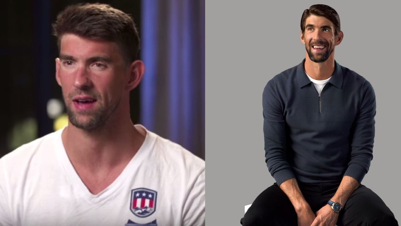 Michael Phelps before and after alleged plastic surgery.