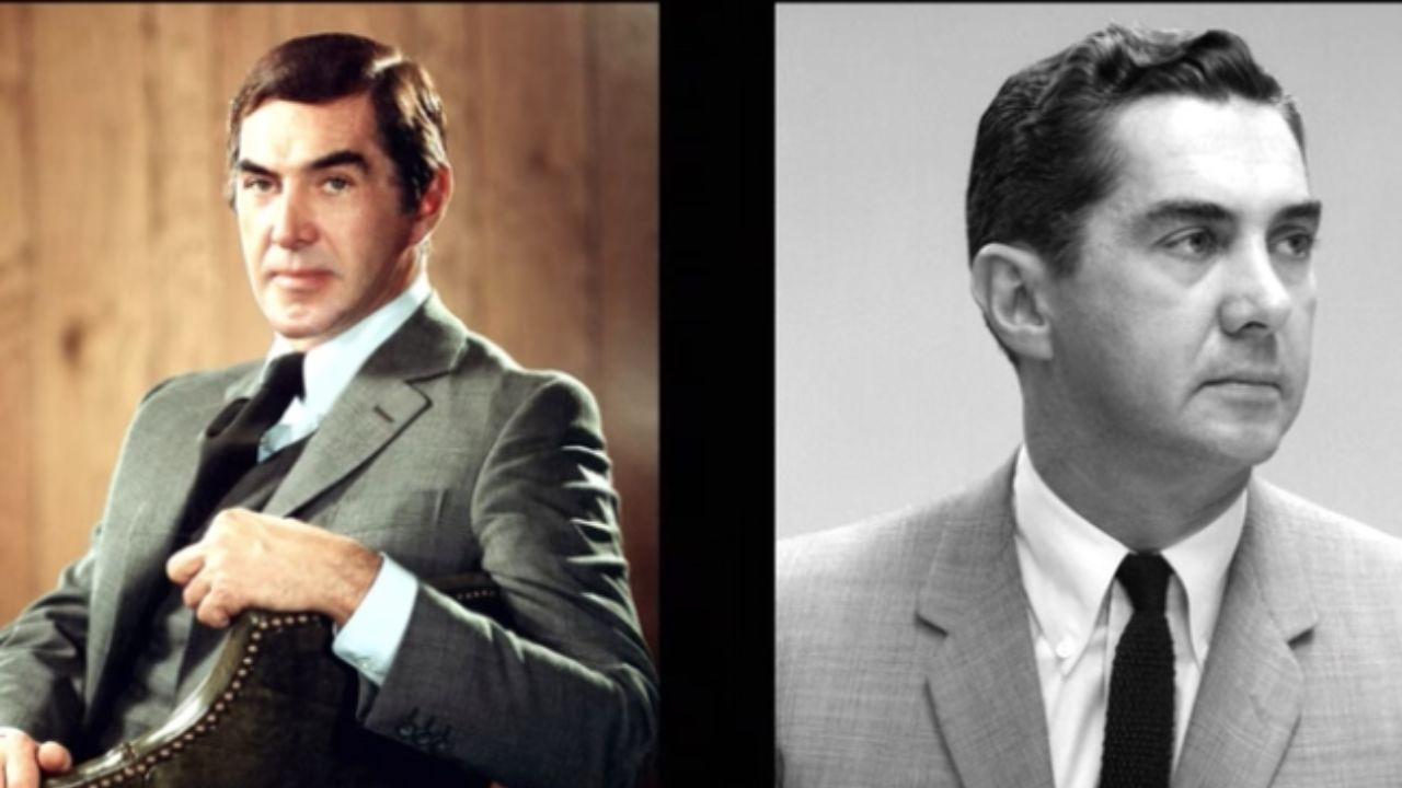 John DeLorean before and after plastic surgery on his jaw.