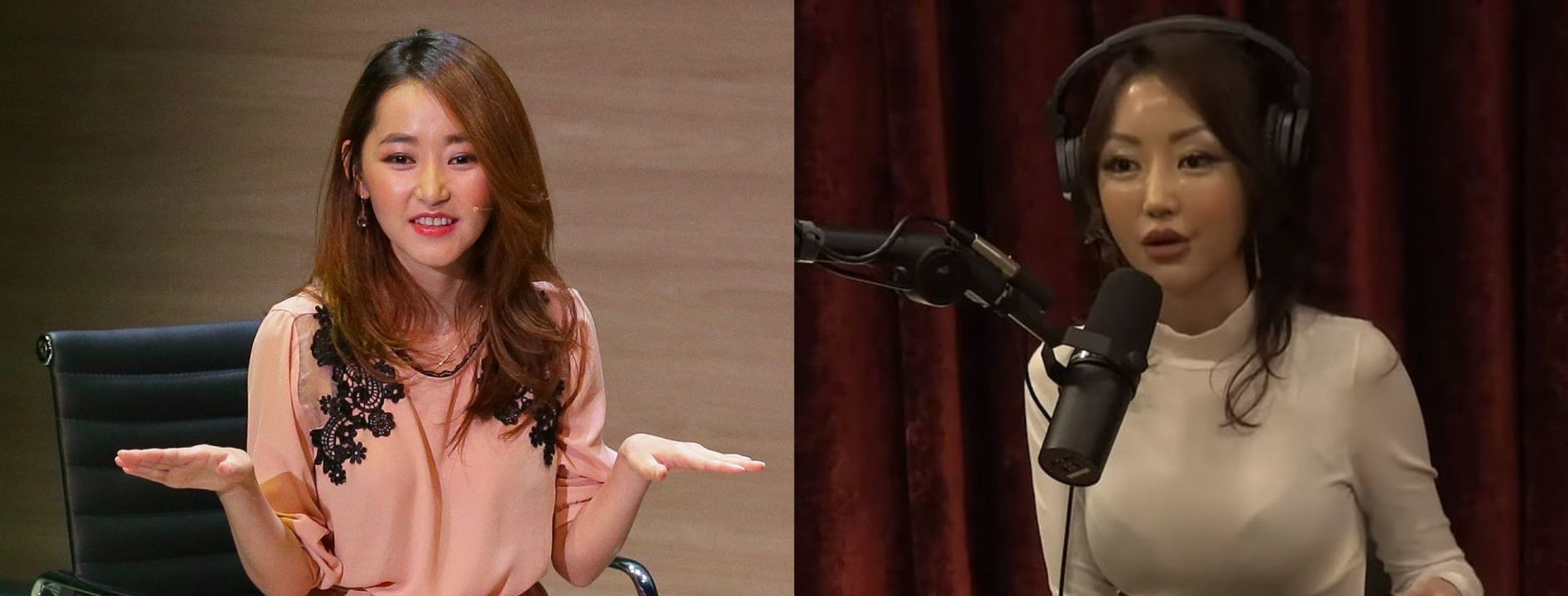 Yeonmi Park before and after alleged breast implants plastic surgery.