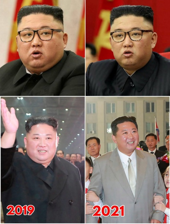 Kim Jong-Un before and after weight loss in 2021.